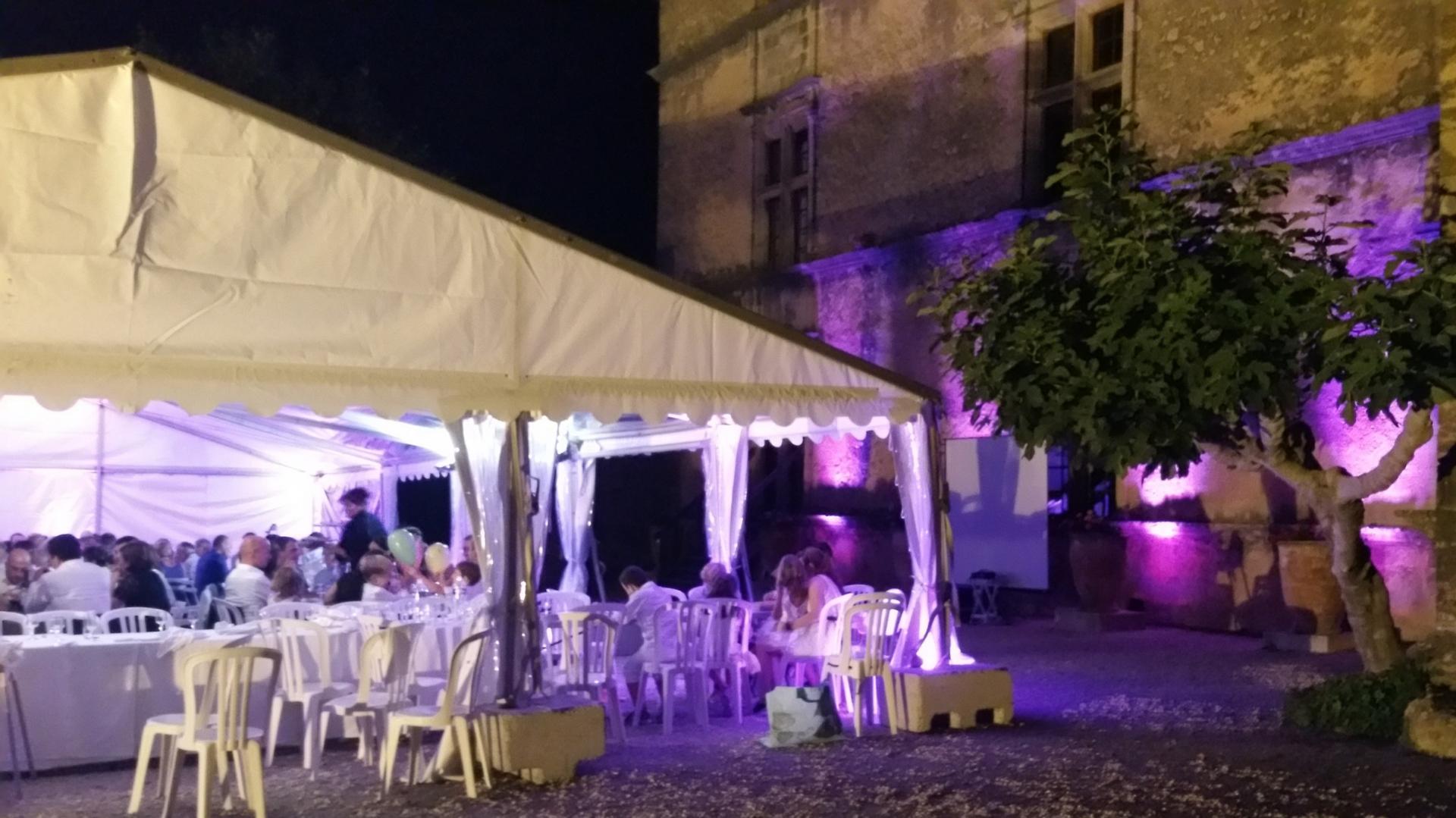 Mise en lumière architecturale soirée extérieure Chateau